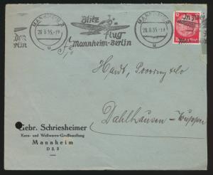 Flugpost D. Reich selt. Werbestempel Blitz Flug Mannheim Berlin n. Dahlhausen