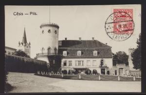 Ansichtskarte Cesis Pils Lettland bildseitig frankiert nach Berlin