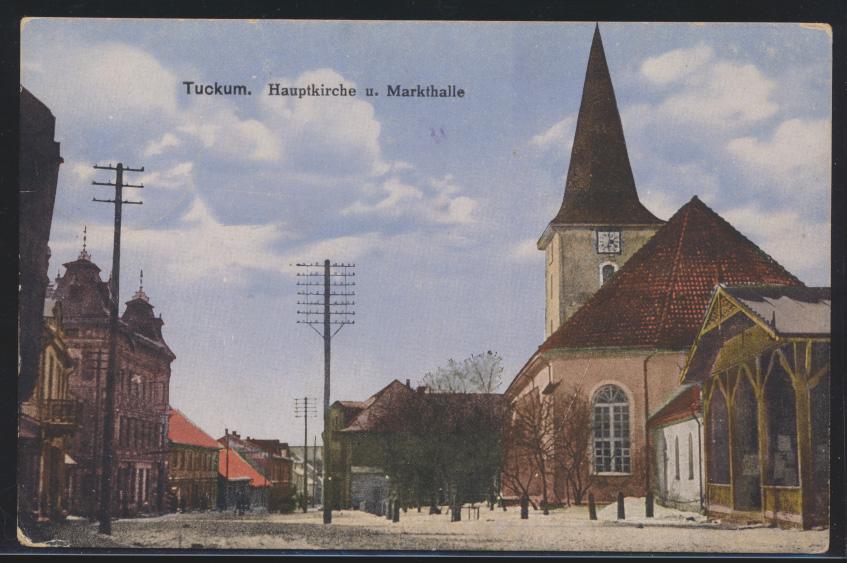 Foto Ansichtskarte Tuckum Tukums Lettland Hauptkirche Markthalle Feldpost nach 0