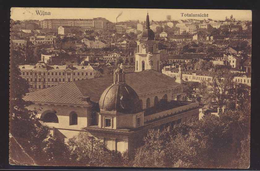 Foto Ansichtskarte Wilna Vilnius Totalansicht Feldpost I. Welkieg nach Berlin  0