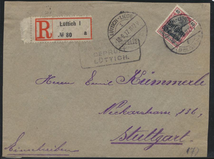Besetzung Landespost Belgien Brief MIF Lüttich nach Stuttgart auf Vorderseite 0