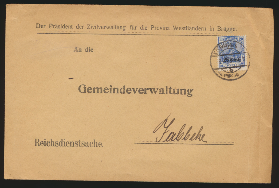 Besetzung Landespost Belgien Brief EF 18 c geprüft Hey BPP K.D. Feldpost Jabbeke 0