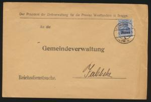 Besetzung Landespost Belgien Brief EF 18 c geprüft Hey BPP K.D. Feldpost Jabbeke