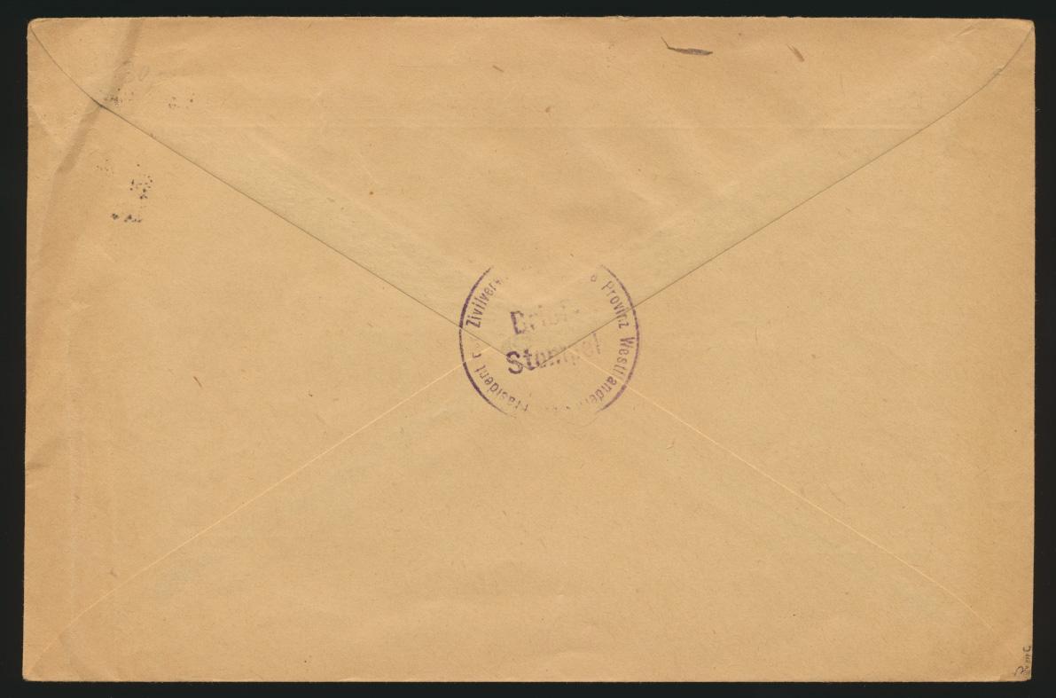 Besetzung Landespost Belgien Brief EF 18 c geprüft Hey BPP K.D. Feldpost Jabbeke 1
