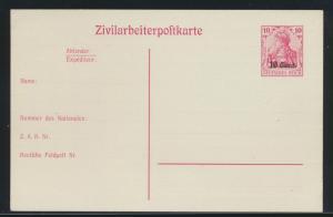Besetzung 1914-18 Ganzsache Etappengebiet West Zivilarbeiterpostkarte P 9 Kat.17