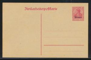 Besetzung 1914-18 Ganzsache Etappengebiet West Zivilarbeiterpostkarte P 6 Kat.14