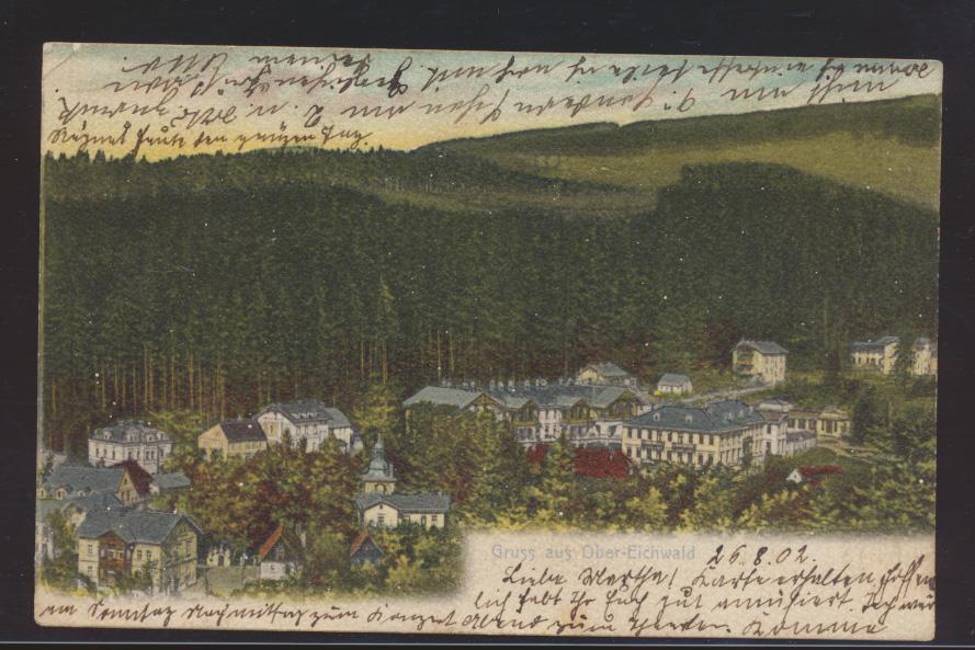 Ansichtskarte Ober Eichwald Dubí Ústecký kraj Nordböhmen nach Brandenburg Havel  0