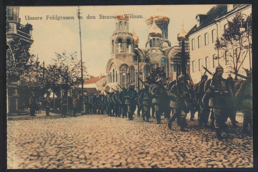 Militaria Foto Ansichtskarte Wilna unsere Feldgrauen Vilnius I. Weltkrieg 0