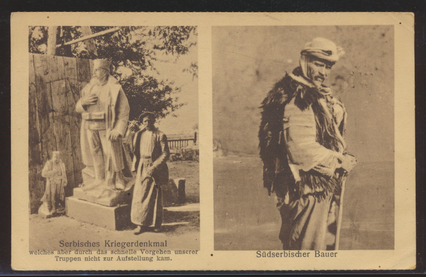 Foto Ansichtskarte Sebien Serbisches Kriegerdenkmal per Feldpost n .Frankfurt 0