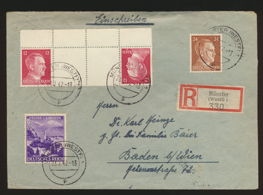 Reich Zusammendruck R Brief KZ 41 Münster n Baden bei Wien Österreich selt Frank 0