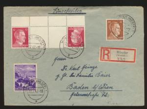 Reich Zusammendruck R Brief KZ 41 Münster n Baden bei Wien Österreich selt Frank
