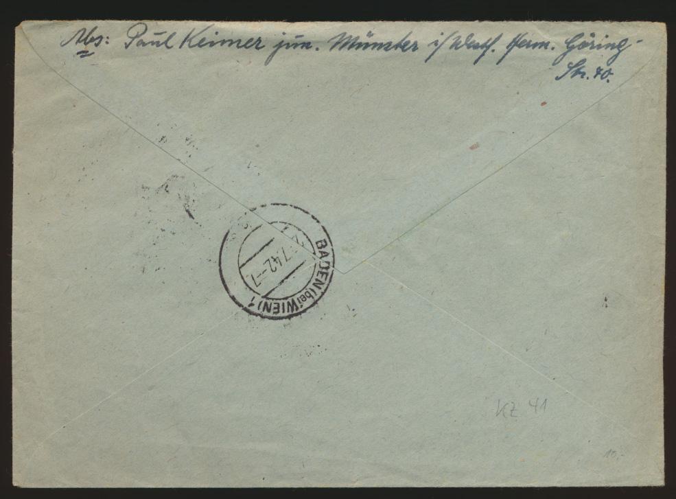 Reich Zusammendruck R Brief KZ 41 Münster n Baden bei Wien Österreich selt Frank 1