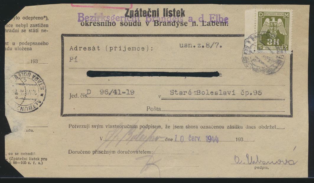 Besetzung Böhmen & Mähren EF Dienst D 22 3 k Bezierksgericht Brandeis Elbe 0