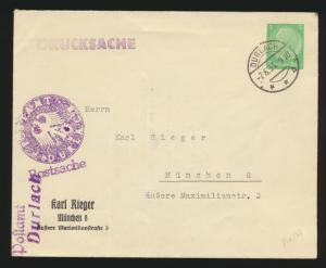 Reich Privatganzsache PU 129 B 5 Hindenburg verwendet als Postsache Durlach