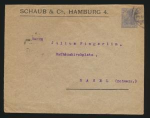 Reich Privatganzsache PU 28 20 Pfg. Germania Schaup & Co Hamburg n Basel Schweiz