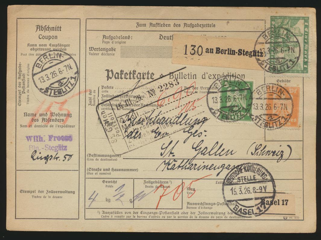 Deutsches Reich Brief MIF 364 +361 Paketkarte Berlin Steglitz St. Gallen Schweiz 0
