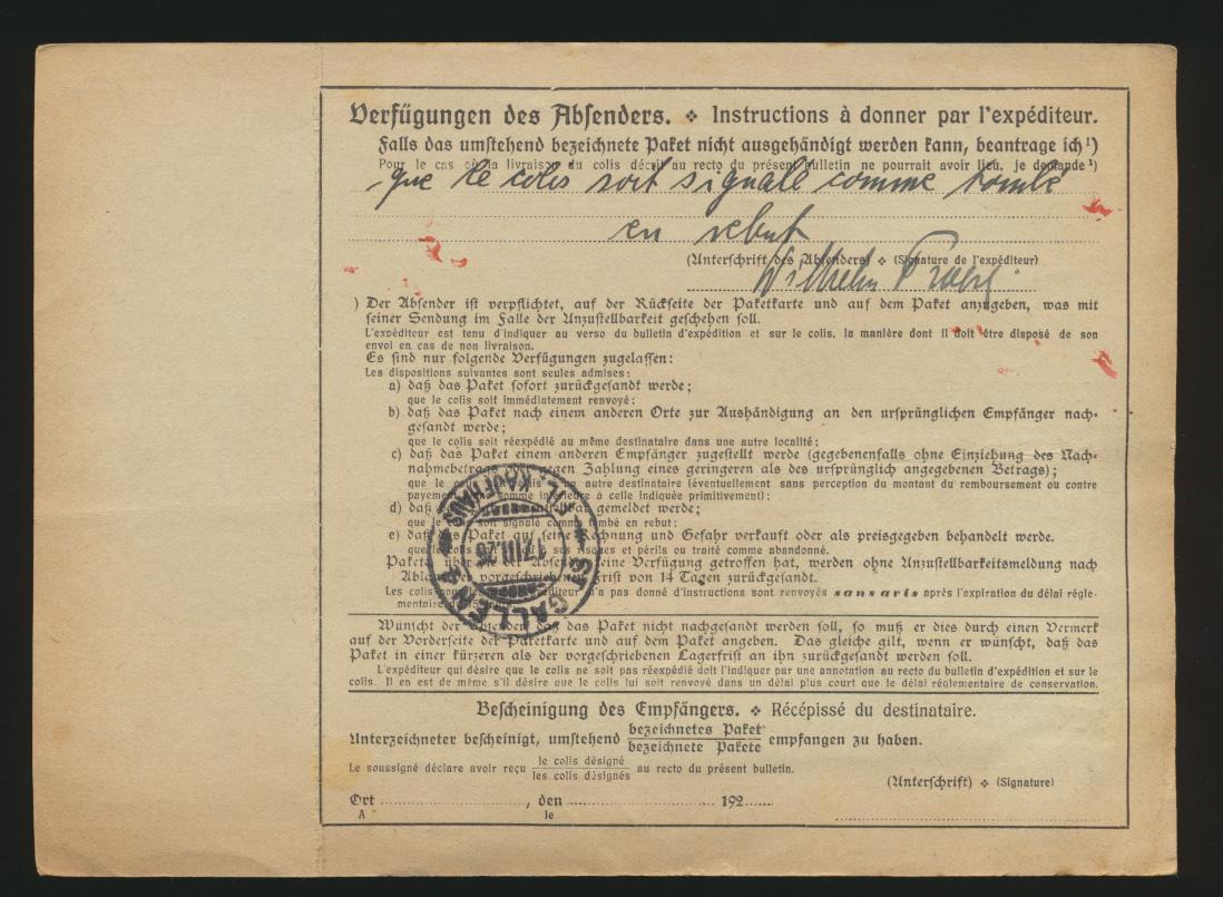 Deutsches Reich Brief MIF 364 +361 Paketkarte Berlin Steglitz St. Gallen Schweiz 1