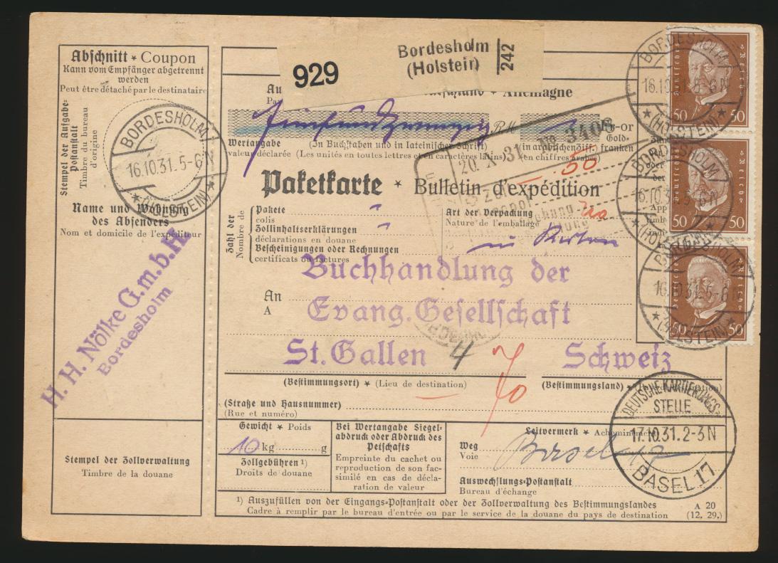 Reich Brief Präsidenten Bordesholm St Gallen Schweiz Dt. Kartierungsstelle Basel 0