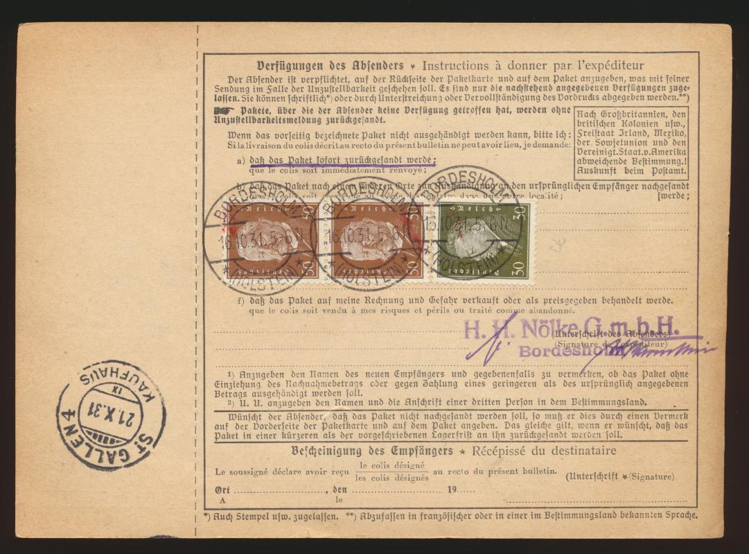 Reich Brief Präsidenten Bordesholm St Gallen Schweiz Dt. Kartierungsstelle Basel 1