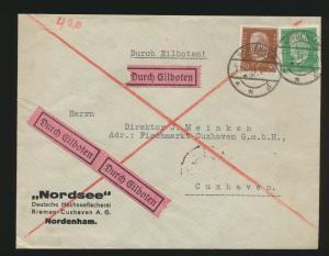 Deutsches Reich Eilboten Brief MIF Hindenburg Nordenham nach Cuxhaven 12.5.1931