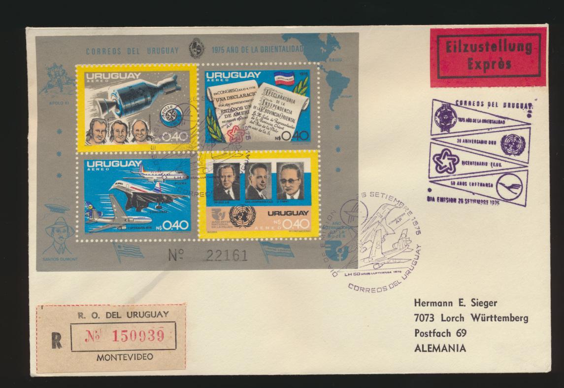 Uruguay Eilboten R Brief Weltraum Block Uruguay courier R letter space block 0