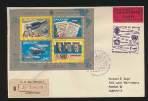 Uruguay Eilboten R Brief Weltraum Block Uruguay courier R letter space block