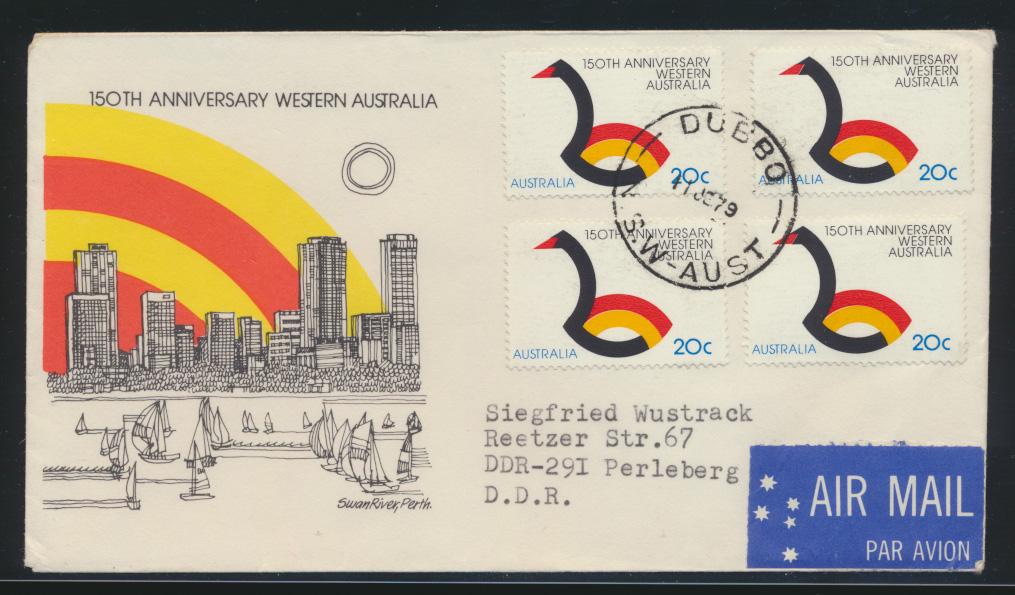 Australien Brief MEF nach Perleberg DDR Australia cover of four 0