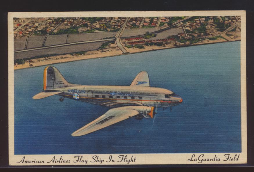 Flugpost Flugzeug Ansichtskarte USA American Airlines Flag Ship La Guardia Field 0