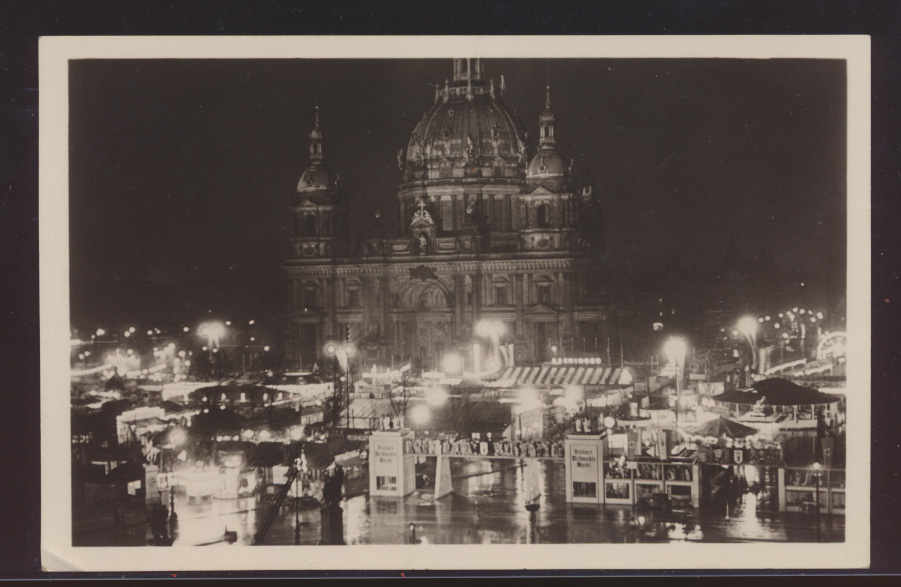 Foto Ansichtskarte Berlin Weihnachtsmarkt Weihnachten SST 19.12.1937 Klingenthal 0