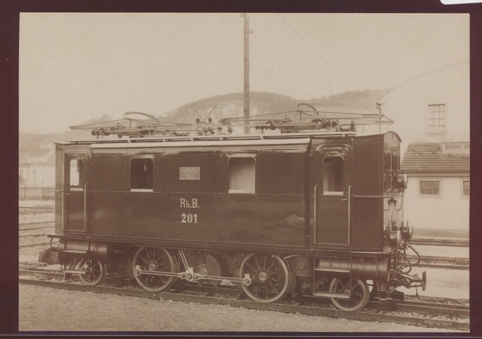 Eisenbahn Foto Ansichtskarte GE2-4 Nr. 201 Rhätischen Bahn RhB Baujahr 1912 0