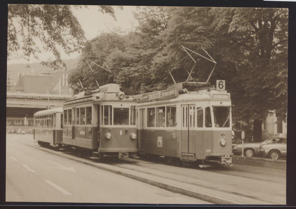 Eisenbahn Foto Ansichtskarte Sächsiwagen mit Lausanner Anhänger Forchbahn BFe 0