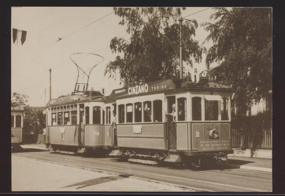 Eisenbahn Ansichtskarte Motorwagen 2 + 20 Nr. 1 Ce 2-2 1 und 2 Reklame Cincano 0