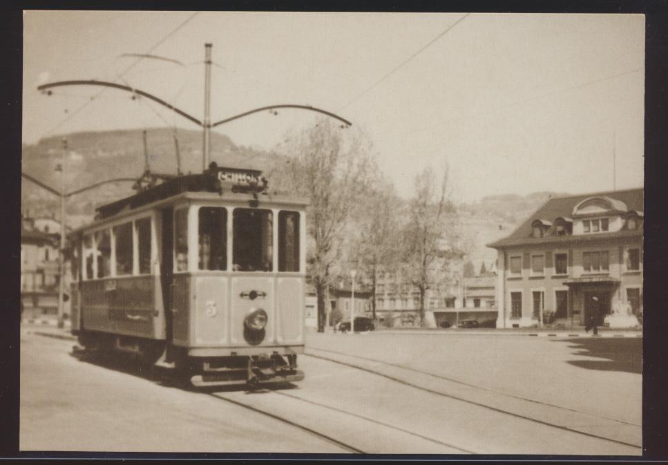 Eisenbahn Foto Ansichtskarte Tram VMCV Wagen Ce 2-2 Nr. 3 um 1950 0