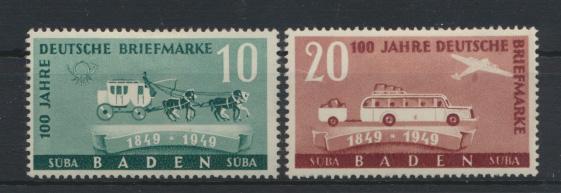 Franz. Zone Baden 100 Jahre Briefmarken 54-55  ungebraucht Kat.-Wert 7,00 0