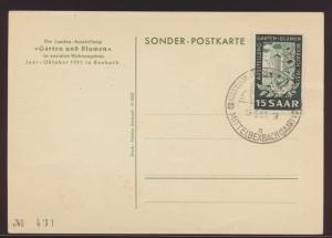 Saarland Brief 307 Garten Blumen auf immer gesuchter dekor. Anlasskarte FDC