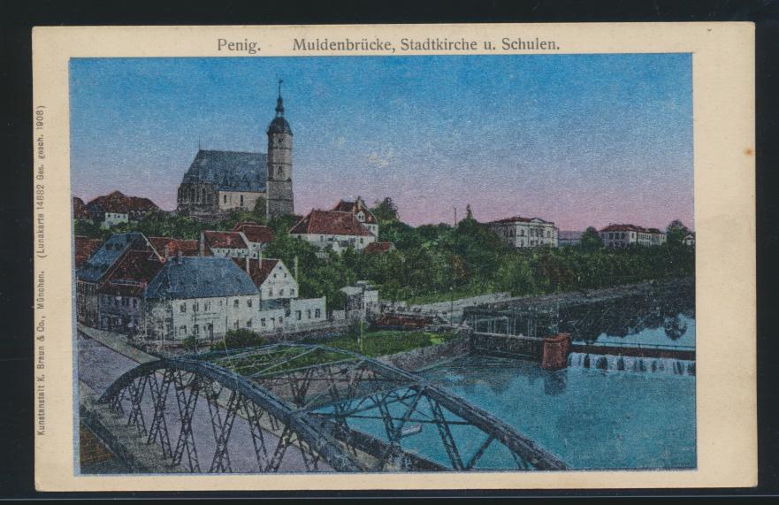 Ansichtskarte Penig Brück Schule Lunakarte 14882 Sachsen Verlag Braun München 0
