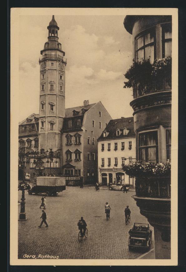 Ansichtskarte Gera Rathaus Thüringen Auto Werbestemel das Reußische Theater  0