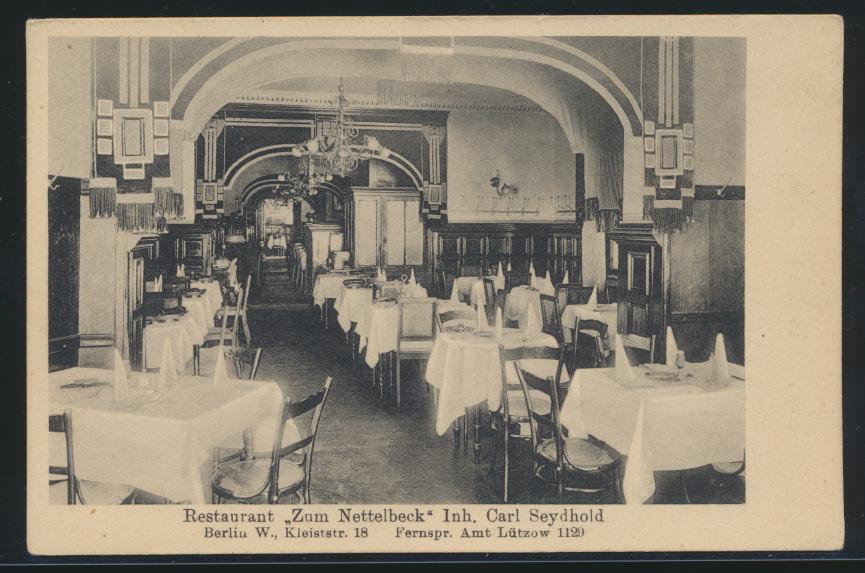 Ansichtskarte Berlin Kleiststr. 18 Restaurant Zum Nettelbeck Carl Seydbold nach 0