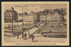 Feldpost Vordruck Ansichtskarte Lüttich Weltkrieg Brücke viol. L2 Minienwerfer
