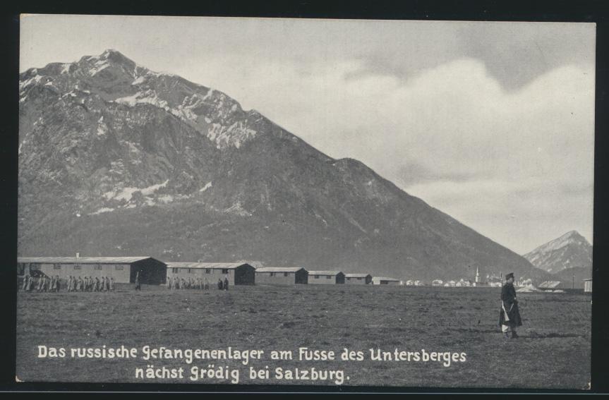 Militaria Foto Ansichtskarte Gefangenenlager Grödig Salzburg Österreich Rußland  0