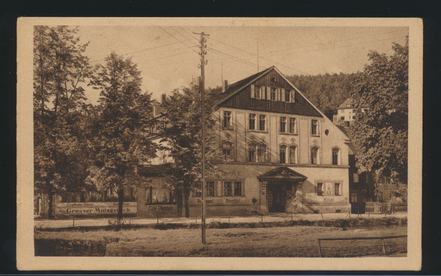 Ansichtskarte Radiumbad Oberschlema Oberschlesien Erzgebirgischer Hof R. Willy  0