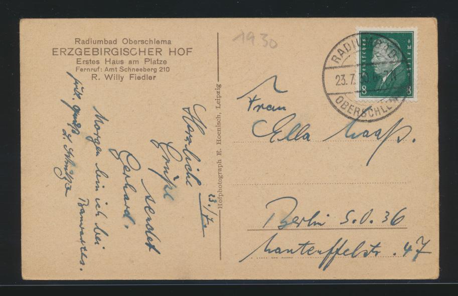 Ansichtskarte Radiumbad Oberschlema Oberschlesien Erzgebirgischer Hof R. Willy  1