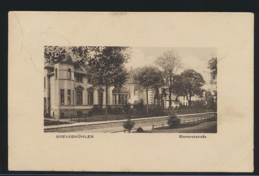 Ansichtskarte Grevesmühlen Bismarckstraße Mecklenburg nach Boltenhagen 9.10.1915 0
