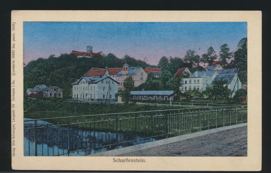 Ansichtskarte Scharfenstein Sachsen Lunakarte 18888 Verlag O. Schweiger Zschopau 0
