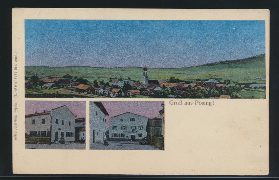 Ansichtskarte Pösing Bayern Lunakarte 17878 Verlag Josef Götz  0