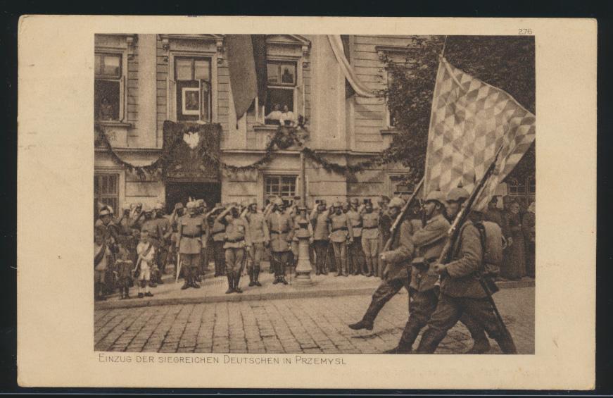 Ansichtskarte Przemysl Galizien Polen Einzug der siegreichen deutschen Truppen  0