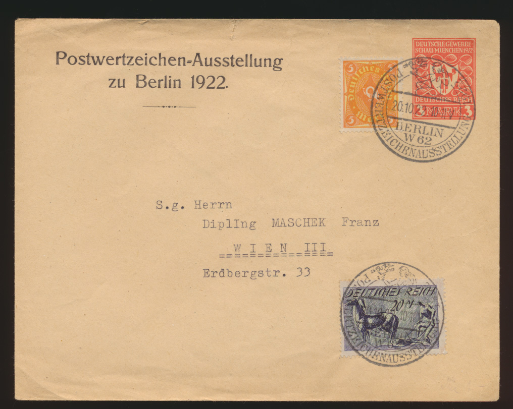 Reich Privatganzsache Infla PU 67 C1 Berlin Postwertzeichen Ausstellung Wien  0