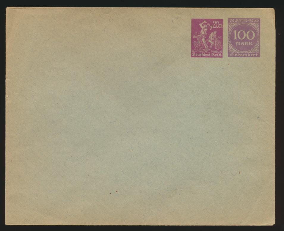 Deutsches Reich Privatganzsache Umschlag PU 92 04 Arbeiter + Ziffer 0