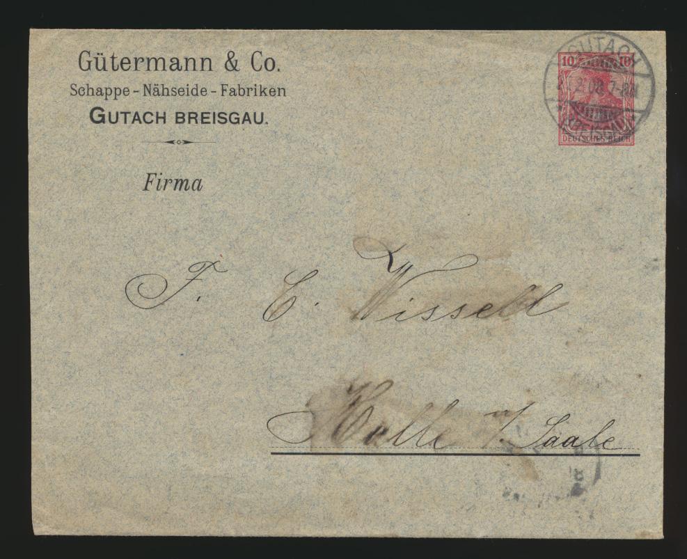 D. Reich Privatganzsache Umschlag PU 27 B 37 Firma linksbündig mit Zierstrich 0