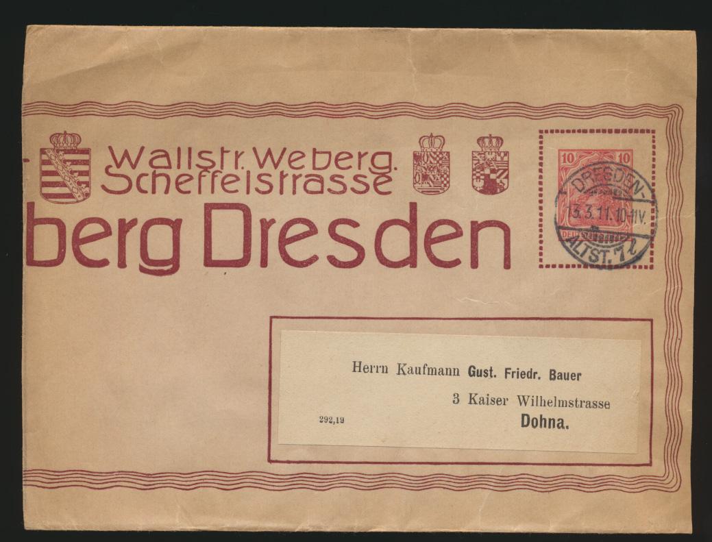 Deutsches Reich Privatganzsache Streifband PS 10 02 Mühlberg Dresden beschnitten 0